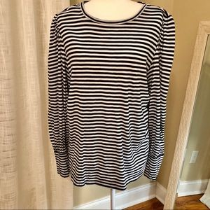 Loft Black/White Stripe Long Sleeve Top Sz. Large